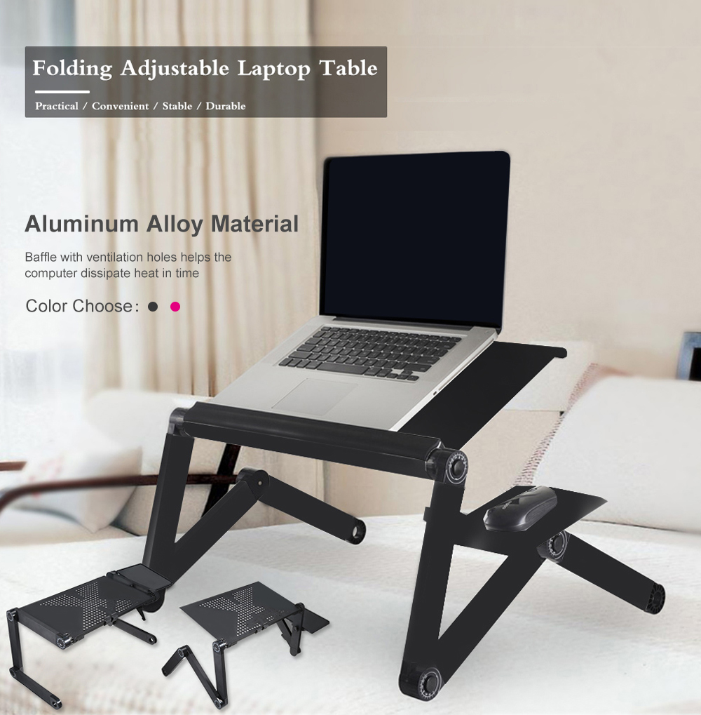 Adjustable Computer Desk Table Folding Laptop Notebook Stand Bed Tray Aluminum Alloy Portable Anti-Skid Table Z30
