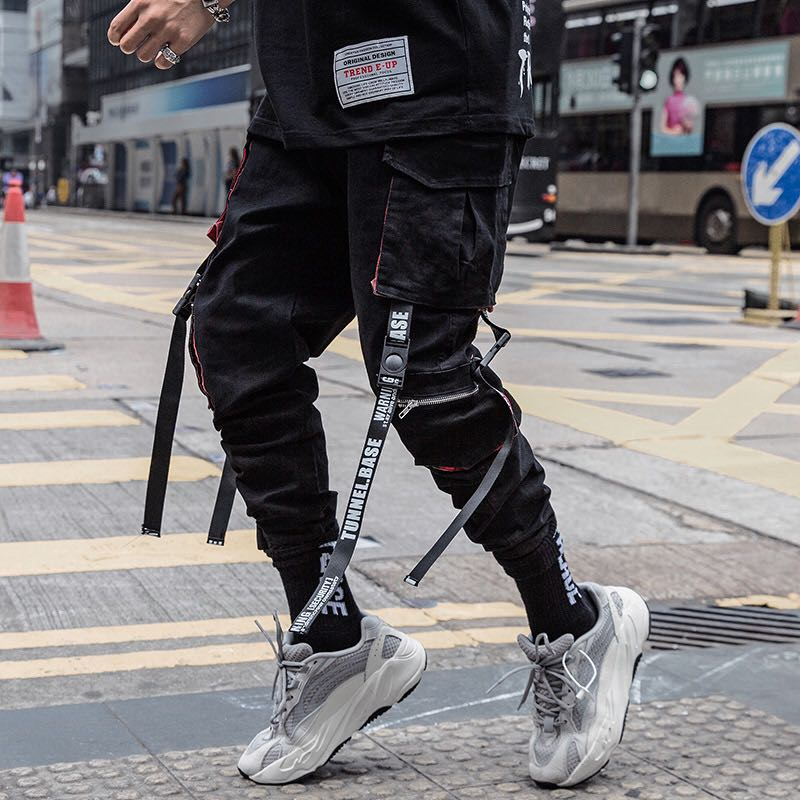 Men Hip Hop Black Cargo Pants joggers Sweatpants Overalls Men Ribbons Streetwear Harem Pants Women Fashions Trousers 1