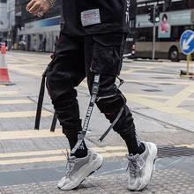 男性ヒップホップ黒貨物パンツジョギングスウェットパンツオーバーオール男性リボンストリートハーレムパンツ女性のファッションズボン