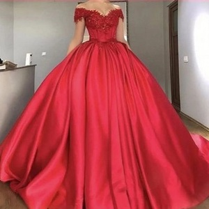 Off Shoulder Red Ball Gown Prom Dresses 2020 Lace Appliques Beaded Satin Corset Lace Up Evening Dresses Custom Plus size Dresses