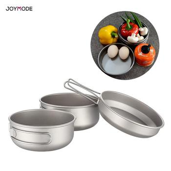 JOYMODE Boundless Voyage 3 pieces Titanium Bowl Sets Outdoor Picnic Cookware Camping Ultralight Cooking Pan with Folding Handle