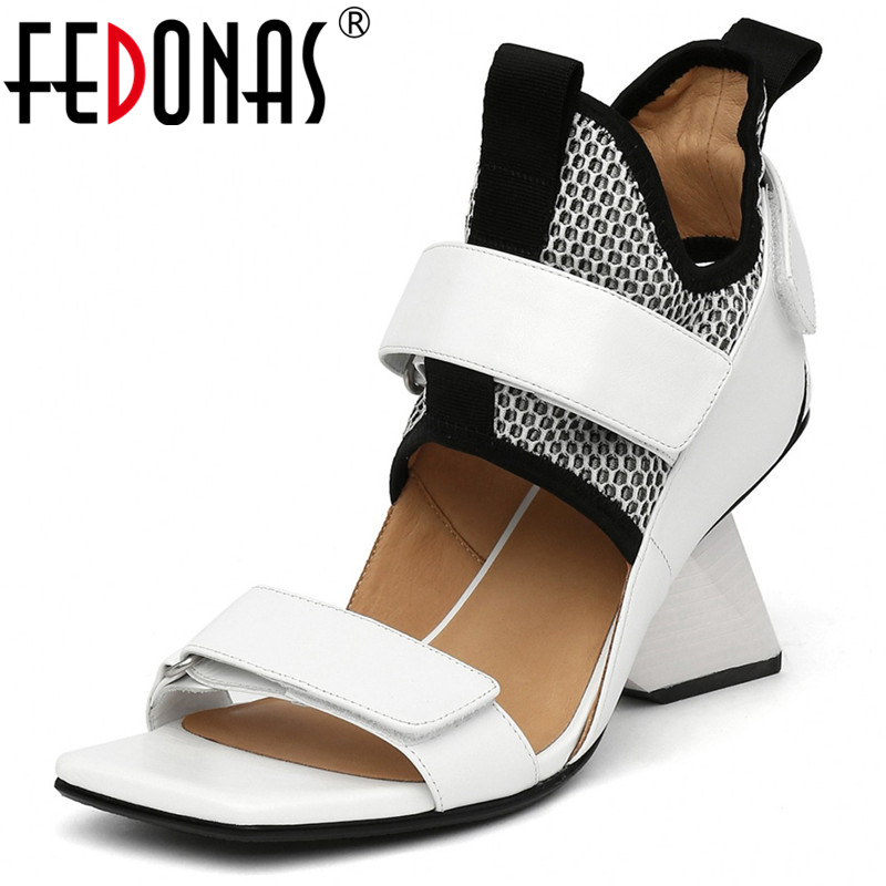 FEDONAS Sport Casual Women Tide Sandals Spring Summer Genuine Leather Strange High Heels Party  Shoes Woman Euro Style Pumps
