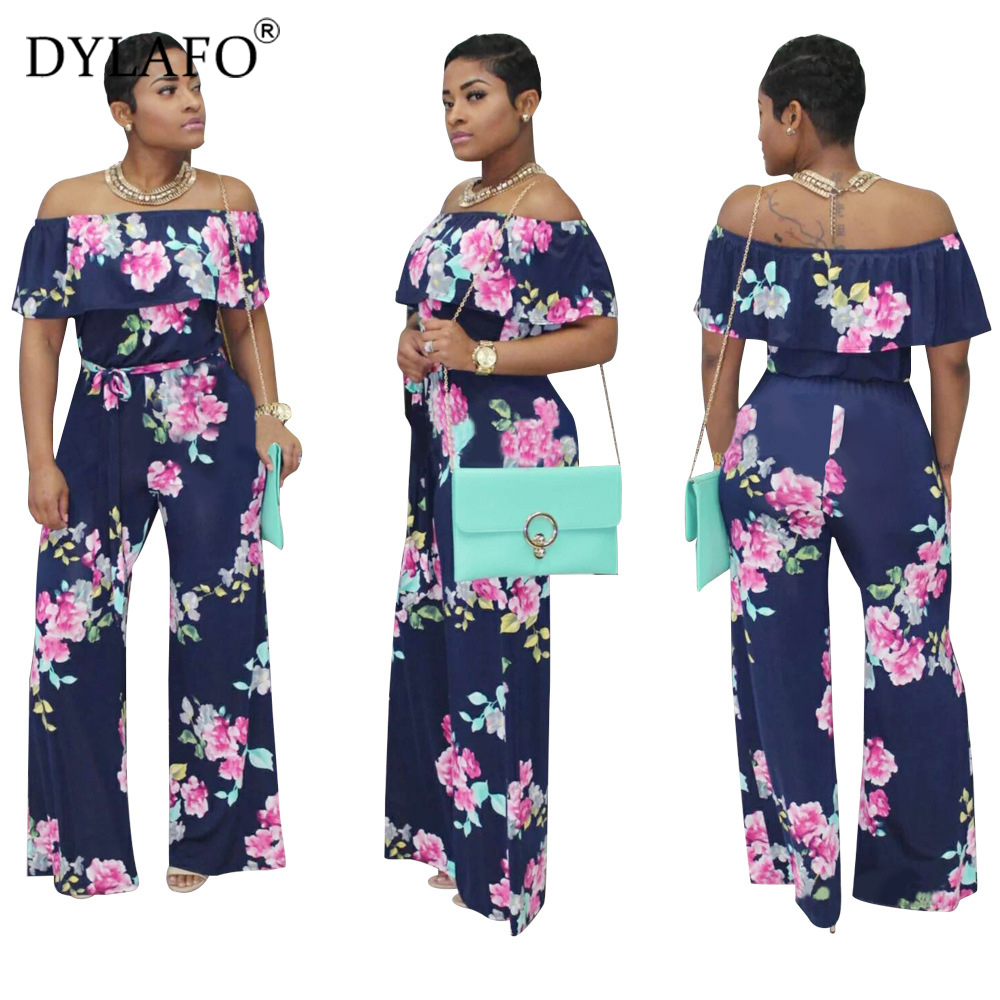 Hot Sale Bohemian Palm Print Lace Up Jumpsuits&Rompers Off Shoulder Plus Size Women Jumpsuit Summer Beach Sexy Jumpsuit Overalls Pants & Capris Women Bottom ! Plus Size Women's Clothing & Accessories