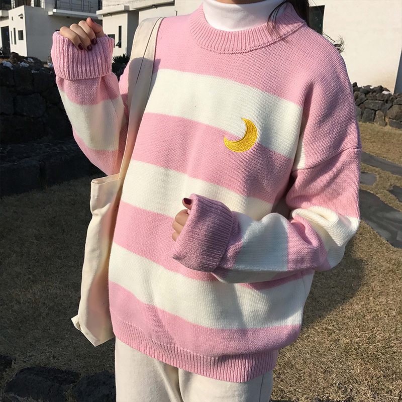Women's Sweaters Kawaii Ulzzang College Candy Color Stripes Moon Sets Embroidery Sweater Female Harajuku Clothing For Women image