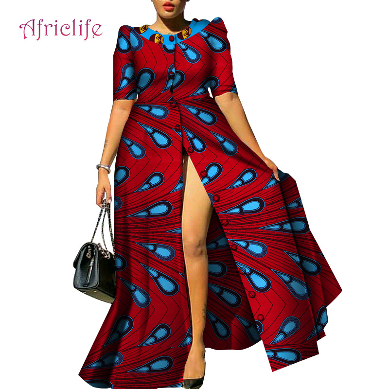 WY4209 African Dresses For Women Causal Print Long Dresses Bazin Riche Dresses Dashiki Women African Traditional Clothing
