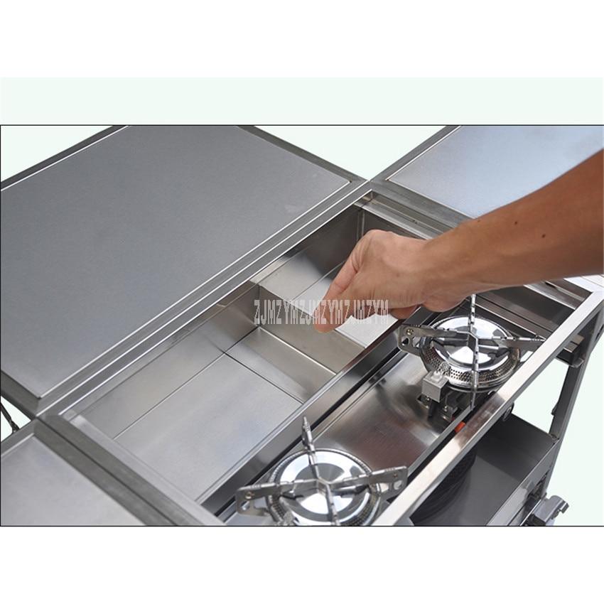 2 3 человека на открытом воздухе Мобильная Кухня 304 из нержавеющей стали складной стол для приготовления пищи Пешие прогулки газовая плита для кемпинга плита + лобовое стекло W450 - 6
