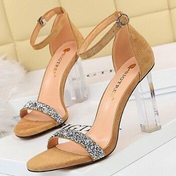2021 Summer Crystal Sandals Bling thin Block Heels  3