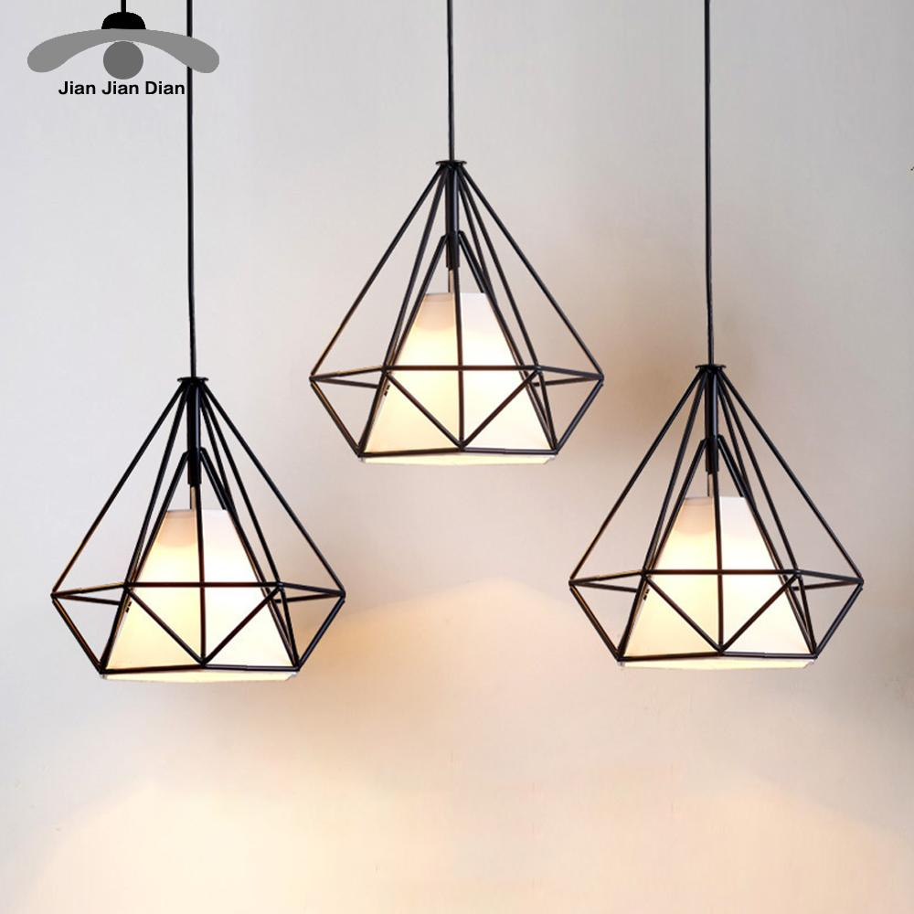 Modern Pendant Light Black Iron Hanging Cage Vintage Led Lamp Bulb E27 Dining Room Restaurant Bar Counter Industrial Loft Retro