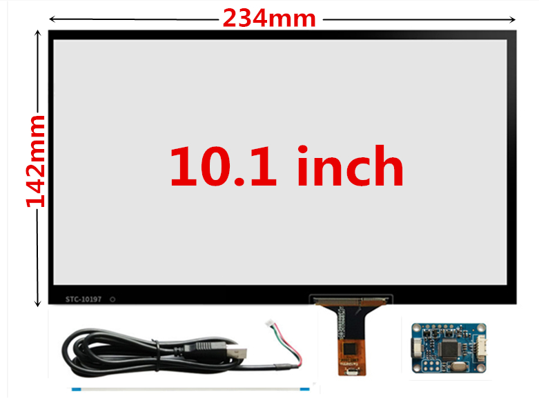 10.1 Inch 230mm*142mm Raspberry Pi Tablet PC Navigation Capacitive Touch Digitizer Touch Screen Panel Glass USB Driver Board