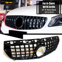 For Mercedes W176 Front Upper Grille Grill GTS Style ABS Gloss Black A Class A180 A200 A250 A45 Look Grills Without Emblem 13 15