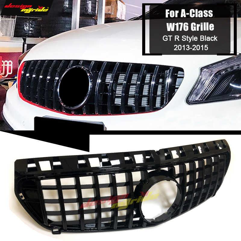 สำหรับ Mercedes W176 ด้านหน้า Grille Grill GTS สไตล์ ABS GLOSS สีดำ A-Class A180 A200 A250 A45 ดู grills ไม่มีสัญลักษณ์ 13-15