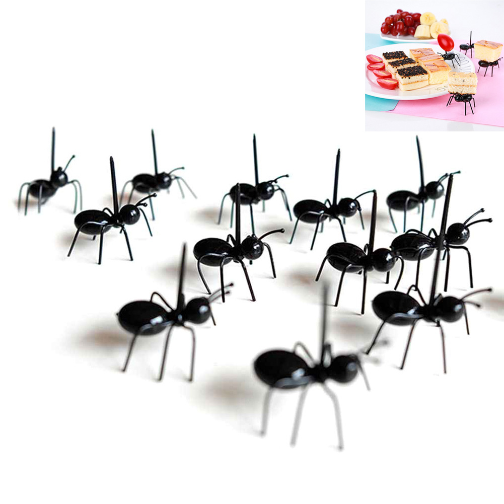 12 шт фруктовый зуб выбрать вечерние украшения животных мультфильм детей закуска пирог десерт еда вилка для фруктов в форме муравья смешные Вилки      АлиЭкспресс
