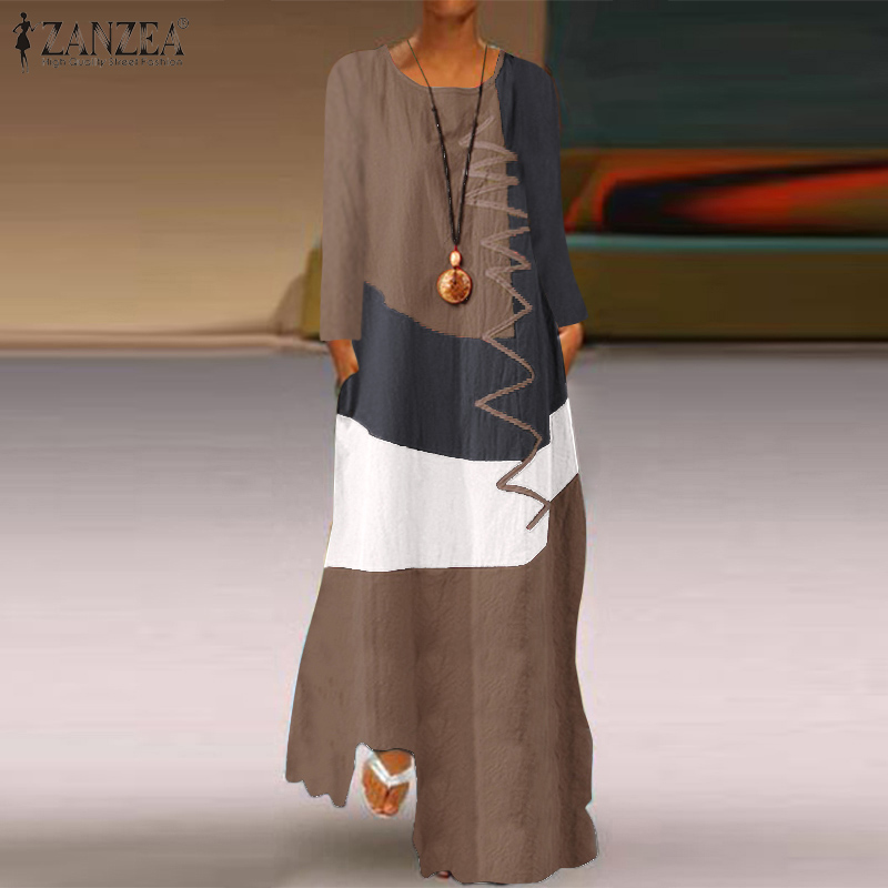 2020 ZANZEA Women Vintage Cotton Linen Sundress Casual Long Sleeve Color Pacthwork Dress Autumn Maxi Long Vestido Robe Kaftan