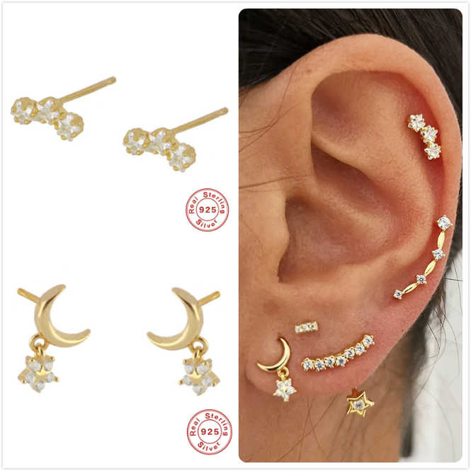 Real 925 Silver Earrings For Women Gold Star Moon Earrings Girl Gift Cartilage Ear Bone Piercing Earring Female Zircon aretes R5
