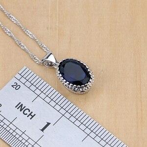 Image 3 - 925 Sterling Silver Jewelry Blue Cubic Zirconia Jewelry Sets For Women Earrings/Pendant/Necklace/Rings/Bracelet