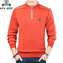 Autumn Winter Knitted Pullovers Mens Sweater Stand Collar Solid Color Zipper Casual Slim Fit Warm pull homme Plus Size M-3XL(China)