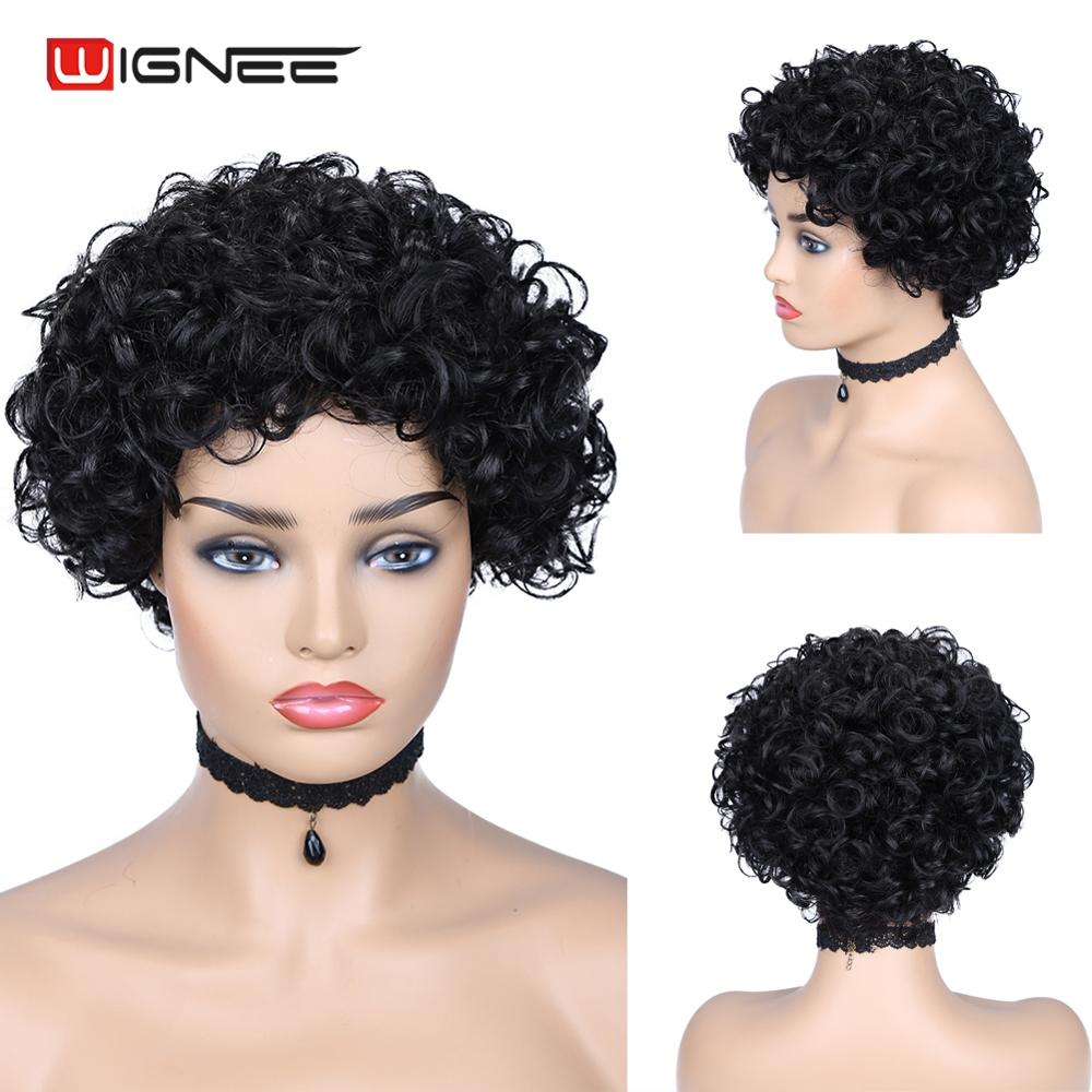 Wignee Curly Human Hair Wigs Wigs Free Bangs For Black Women 150% Density Remy Brazilian Hair Glueless Short Pixie Cut Human Wig