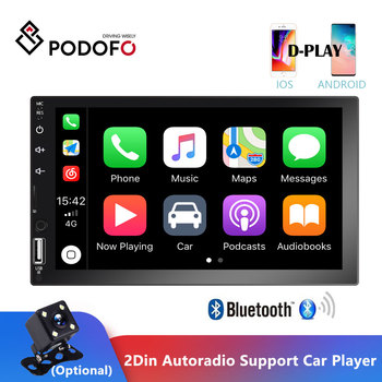 Podofo 2 Din Car Radio 7'' Touch Screen Multimedia Player MP5 Bluetooth Mirror Link Support Car Player Assette Recorder Stereo