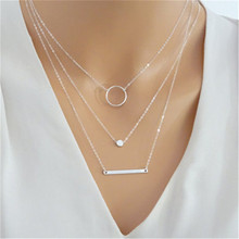 ECODAY Multi Layered Pendant Necklace Women Collares Silver Gold Color Chain Long Necklace Bijoux Femme Ketting Accesorios Mujer attractive solid color pendant multi layered women s necklace