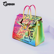 Hand-Painted Graffiti Handbags 2019 Luxury Brand Women Designer Shoulder Bags Ladies Purses and Famous