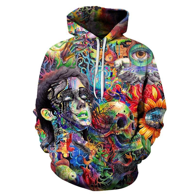 New 3D Graffiti Painted Fashion Men's Hooded Sweatshirt Printed Skull Men's And Women's Casual Hooded Pullover Hoodie Sweatshirt