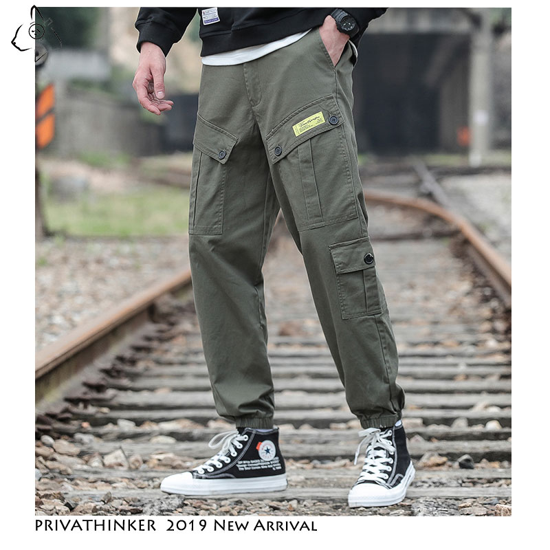 Privathinker Men Loose Japan Pants 2019 Autumn Streetwear Joggers Cargo Pants Mens Pockets Ankle-Length Pants Male Trousers 5XL