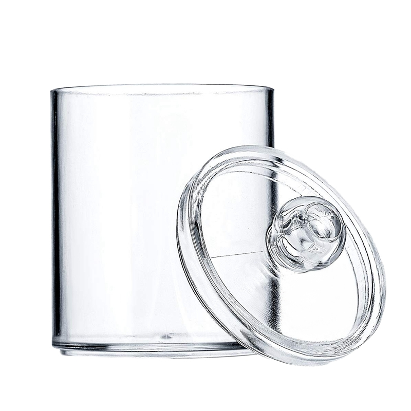 Distributeur pots d'apothicaire support de salle de bain bidon de rangement pot acrylique en plastique transparent pour boule de coton, coton-tige, q-tip, coton R