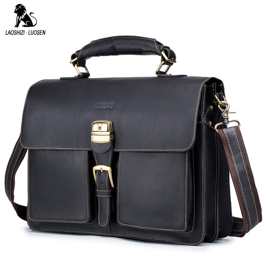 LAOSHIZI Men's Briefcases Laptop Bag Leather Men's Bag Genuine Leather Lawyer/Office Bags For Men Document/Computer Bags