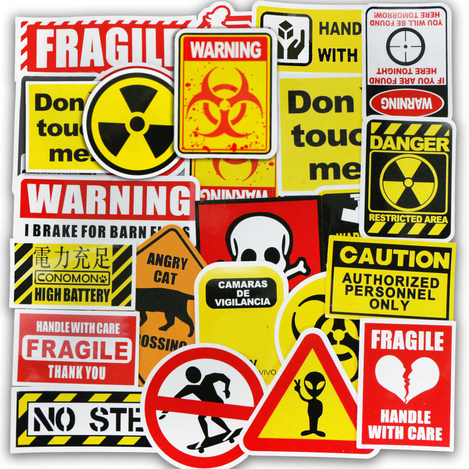 50 PCS Warning Stickers Danger Banning Signs Reminder Waterproof Stop Sticker