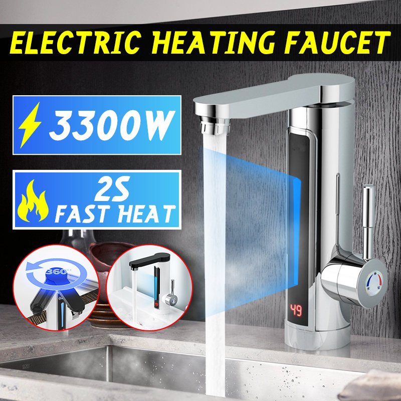Electric Instant Water Heater Faucet Tap 3300W Temperature Display LED Ambient Light Instant Heating Tap for Bathroom Kitchen