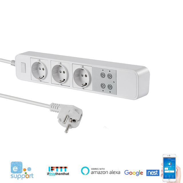 Smart Power Strip WiFi Power Bar EU Type 5ft Extension Cord Compatible with Alexa,Google Home and IFTTT, Surge Protector