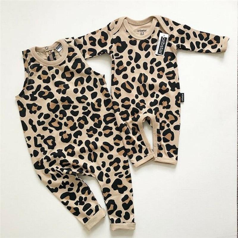 0-24M Infant Baby Girls Boys Leopard Long Sleeve Romper Jumpsuit Bodysuit Outfit