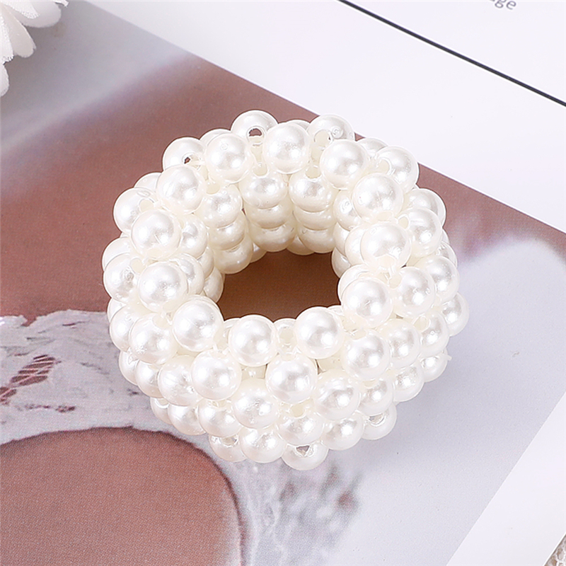 Woman Elegant Pearl Hair Ties Beads Girls Scrunchies Rubber Bands Ponytail Hair Accessories Elastic Hair Band Pearl Headwear
