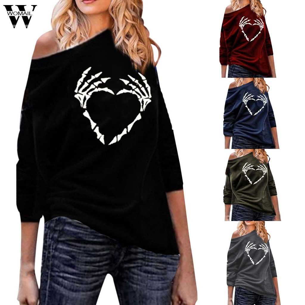 Womail Sweatshirts Women 2019Fashion Skull Print Long Sleeve Pullovers Autumn Sweatshirt Off Shoulder Streetwear Loose S-5XL 813