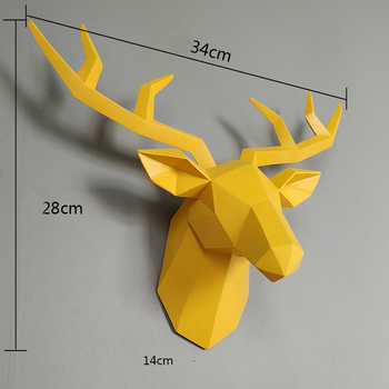 Home Statue Decoration Accessories 34x28x14cm Vintage Antelope Head Abstract Sculpture Room Wall Decor Resin Deer Head Statues