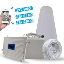 2G 3G 4G ثلاثي الفرقة إشارة الداعم GSM 900MHz + UMTS WCDMA 2100 (الفرقة 1) 4G LTE 2600 (الفرقة 7) الهاتف المحمول مكرر إشارة مكبر للصوت مجموعة