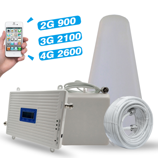 2G 3G 4G Tri Band Signal Booster GSM 900MHz+UMTS WCDMA 2100(Band 1)+4G LTE 2600(Band 7)  Cellphone Signal Repeater Amplifier Set