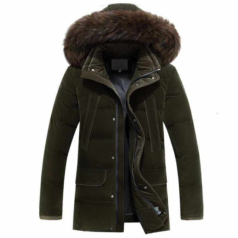 Новый большой размер 4xl Зимний пуховик для мужчин средней длины плотное теплое пальто с меховым воротником на белом утином пуху куртка для мужчин-40 градусов