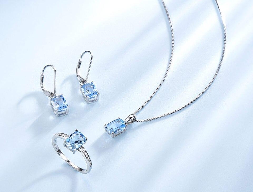 UMCHO Sky blue topaz silver sterling jewelry sets for women S011B-1-PC (4)