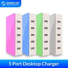 ORICO 5 Port Desktop USB Ladegerät Reise Ladegerät Adapter Schnelle Lade Für Smartphone 4 Farben Intelligente Ladegerät Steckdose