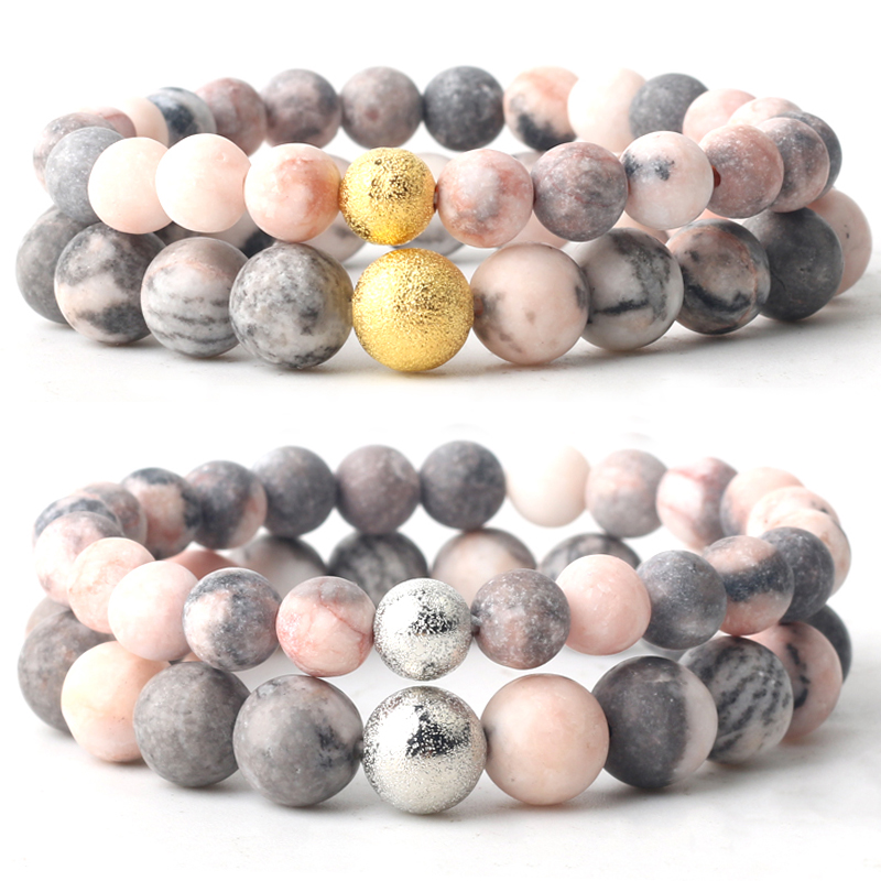 Natural Stone Pink Zebra Jaspers Round Beads Couple Bracelet Chain length 19cm For Men Women 6mm 8mm 10mm Gold Silvering Beads(China)