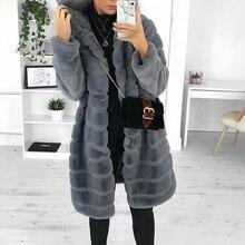 Winter Thick Warm Faux Fur Coat Women Hooded Long Sleeve Shaggy Soft Artificial Fur Jacket Fake Mink Overcoat Plus Size 5XL Tops