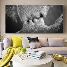 Картина абстрактное полотно с изображением любовного поцелуя, картина на стену, сексуальный черно-белый постер и принт, художественная картина, Декор