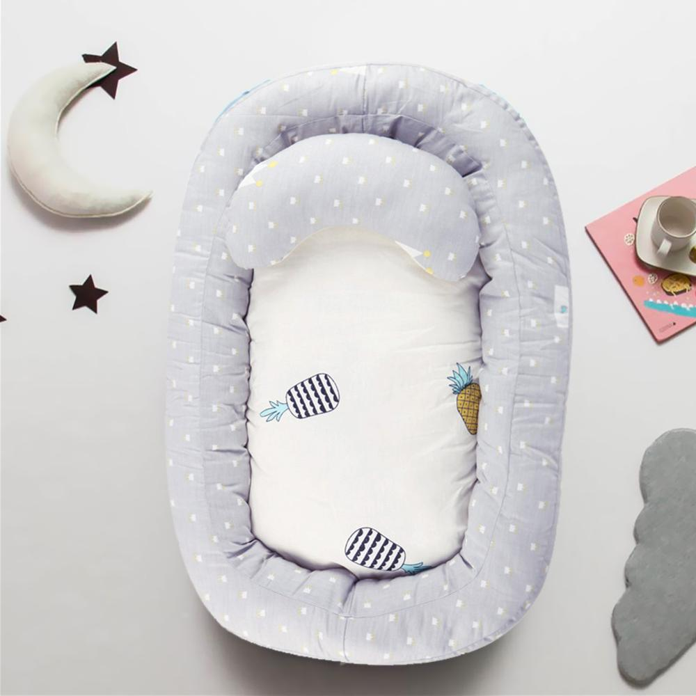 Portable Baby Sleep Nest Bed With Removable Pillow 0-12 Months Newborn Sleeping Protective Cushion Cotton Infant Bassinet