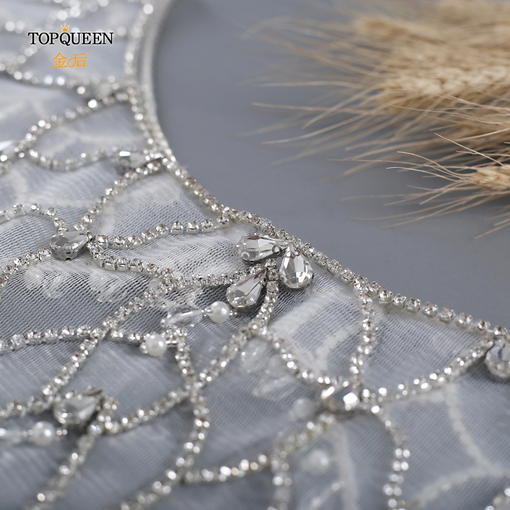 Купить topqueen g14 роскошный украшенный стразами свадебный короткий