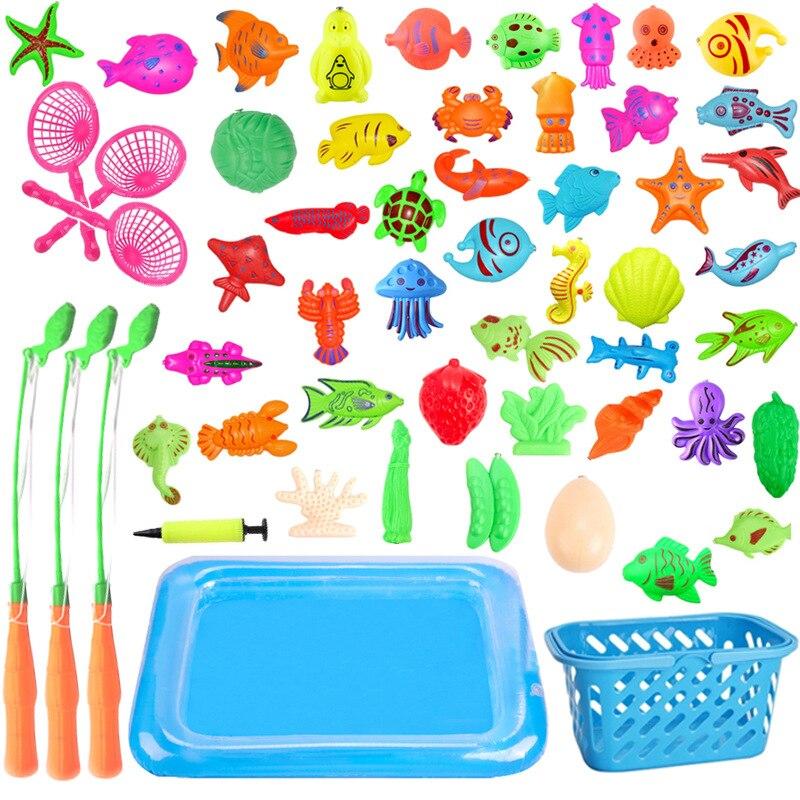 С надувным бассейном, набор магнитных удочек, игрушки, уличная сеть для игр, Детская модель, игрушки для рыбалки, детей