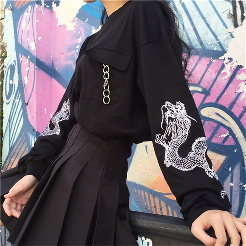 Black Embroidery Women's Sweatshirt Top Long Sleeve Chains Preppy O-neck Pullovers Tops Women 2020 Spring Fashion Woman Clothes