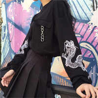 Preto bordado camisola feminina topo de manga longa correntes preppy o-pescoço pullovers topos feminino 2019 outono moda mulher roupas