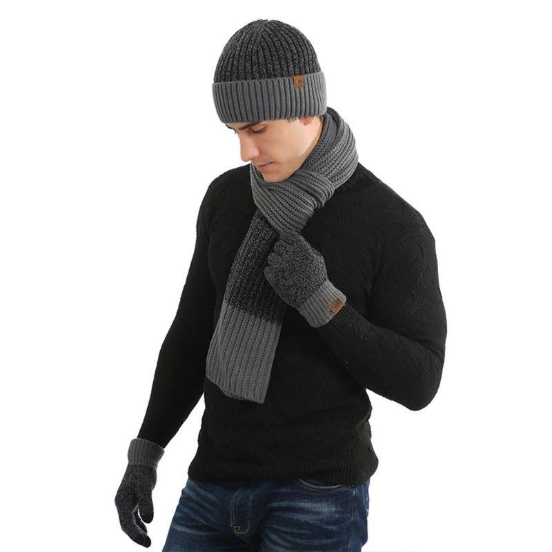 3 Pcs/set Men Women Autumn Winter Double-sided Color Matching Scarf Hat Glove LX9E
