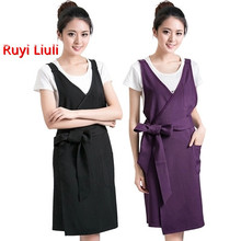 High-end beautician working apron work clothes manicure shop restaurant waiter